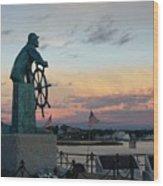 Man At The Wheel At Sunset Wood Print by Matthew Green