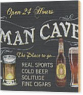 Man Cave Chalkboard Sign Wood Print
