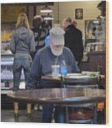 Man Does Not Notice Woman Behind Him Wood Print