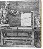 Man Drawing A Lute 1523 Wood Print