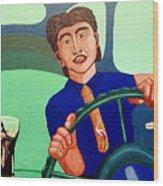 Man Driving with Coke Wood Print