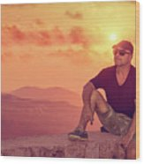 Man Enjoying Sunset Wood Print