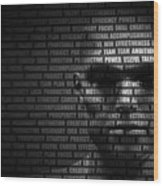 Man Face Blended With Flowing List Of Motivational Words Wood Print