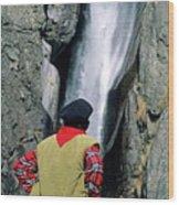Man Facing A Waterfall Wood Print
