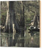 Man Fishing In Cypress Swamp Wood Print