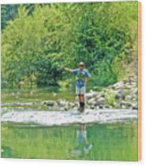 Man Fly Fishing In Canyon Creek Near Winters-california Wood Print