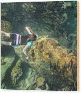 Man Free Diving Wood Print