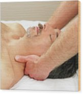 Man Getting Neck Massage Wood Print