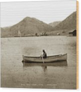 Man In A Row Boat Named Lizzie On Palmer Lake On The Colorado Di Wood Print