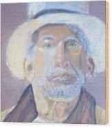 Man In A Straw Hat Wood Print