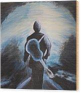 Man In Black Wood Print