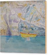 Man In Boat, Lerici Wood Print