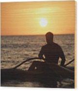 Man In Canoe Wood Print
