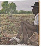 Man In Field Burkina Faso Series Wood Print