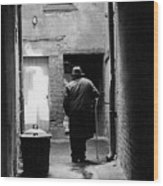 Man In Paris Alley Wood Print