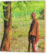 Man In Shade Wood Print