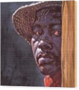 Man In Straw Hat Wood Print