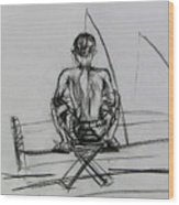 Man In The Fishing Game Wood Print