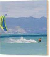 Man Kiteboarding In Turquoise Water Wood Print by Mark Cosslett