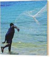 Man Launching His Fishing Net Into The Crystal Water Wood Print