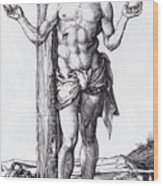 Man Of Sorrows With Hands Raised 1500 Wood Print
