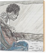 Man On Beach Wood Print by David Fossaceca
