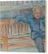 Man On Bench Wood Print