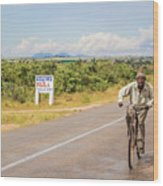Man On Bicycle In Zambia Wood Print