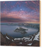 Man On Hilltop Viewing Crater Lake With Full Moon Wood Print