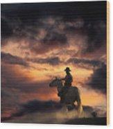 Man On Horseback Wood Print