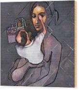 Man Painting Woman Wood Print