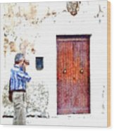 Man Photographing Wood Print