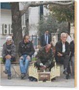 Man Polishing Leather Shoes Shoeshine On Street Mugla Turkey Wood Print