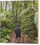 Man Relaxing In Strahan Rainforest Retreat Wood Print