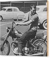 Man Riding A Motorcycle Wood Print