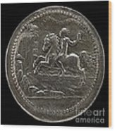 Man Riding Towards A Cliff Carrying A Scroll [reverse] Wood Print