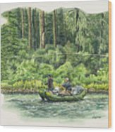 Man Rows Woman Wood Print