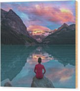 Man Sit On Rock Watching Lake Louise Morning Clouds With Reflect Wood Print