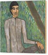 Man Sitting Under Willow Tree Wood Print