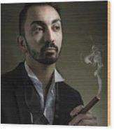 Man Smoking A Cigar Wood Print