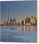 Man Standing On Frozen Lake Ontario Ice Looking At Toronto City  Wood Print