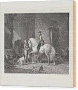 Man Te Paard In Een Stal Wood Print