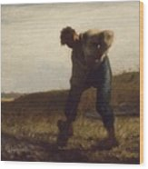 Man Turning Over The Soil Wood Print