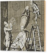 Man Using Sextant On Womans Coiffure Wood Print