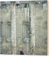 Man Walking Between Columns At The Roman Theatre Wood Print