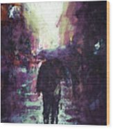 Man Walking Under Umbrella Wood Print