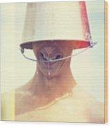 Man Wearing Water Bucket On Head In Summer Heat Wood Print by Jorgo Photography - Wall Art Gallery
