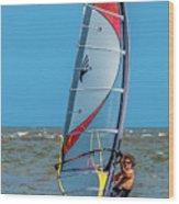 Man Wind Surfing Wood Print