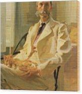 Man With Cat Wood Print