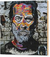 Man With Colourful Face Wood Print